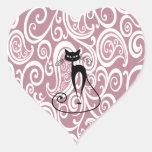 Motif floral doux élégant de chat noir autocollants en cœur