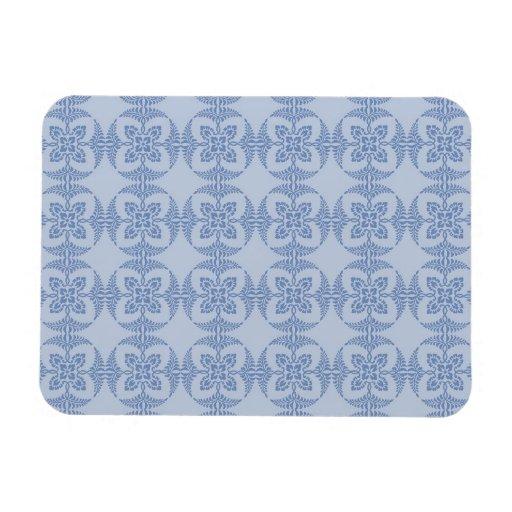 Motif floral géométrique dans bleu-clair magnets rectangulaires