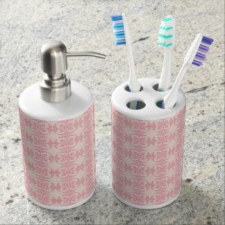 Motif floral géométrique en rose et crème distributeur de savon