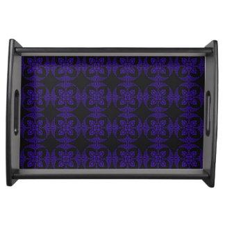 Motif floral géométrique noir et pourpre plateaux de service