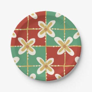 Motif floral indonésien d'or vert rouge de batik assiettes en papier