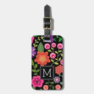 Motif floral noir à la mode avec le monogramme étiquettes bagages
