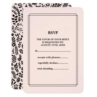 Motif floral noir du rose | épousant des cartes de carton d'invitation 8,89 cm x 12,70 cm