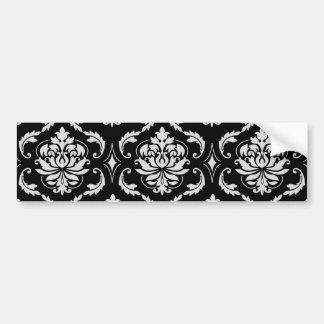 Motif floral noir et blanc classique de damassé autocollant pour voiture