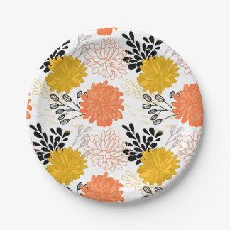 Motif floral oriental dans le motif vintage de assiettes en papier