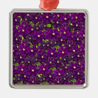 Motif floral pourpre ornement carré argenté