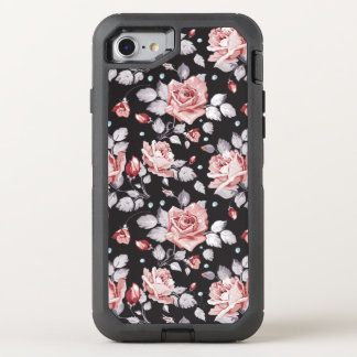 Motif floral rose vintage coque otterbox defender pour iPhone 7