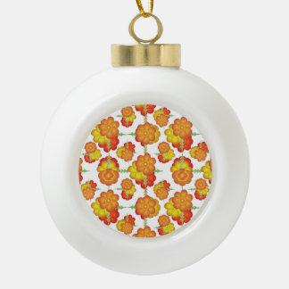 Motif floral stylisé coloré boule en céramique