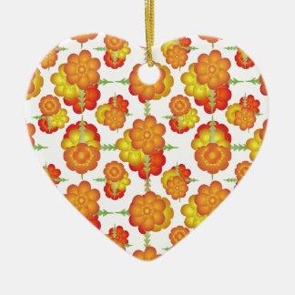 Motif floral stylisé coloré ornement cœur en céramique
