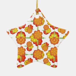 Motif floral stylisé coloré ornement étoile en céramique