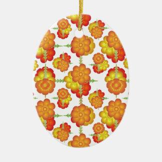 Motif floral stylisé coloré ornement ovale en céramique