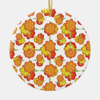 Motif floral stylisé coloré ornement rond en céramique