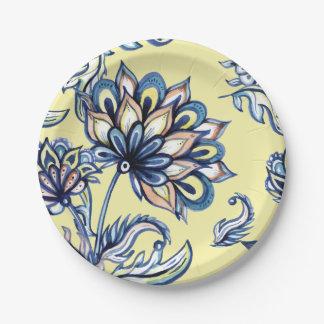 Motif floral tiré par la main de batik d'aquarelle assiettes en papier