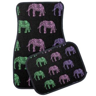 motif floral tribal coloré d'éléphant d'encre tapis de voiture