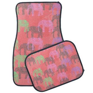 motif floral tribal coloré d'éléphant tapis de voiture