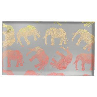 motif floral tribal coloré girly d'éléphant porte-carte de table
