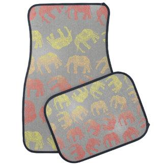 motif floral tribal coloré girly d'éléphant tapis de voiture