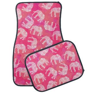 motif floral tribal d'éléphant de colorfu rose tapis de sol