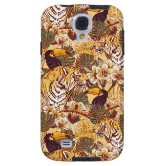 Motif floral tropical avec le tigre coque galaxy s4