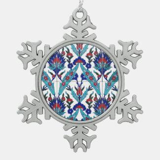 Motif floral turc d'Iznik Ornement Flocon De Neige Pewter