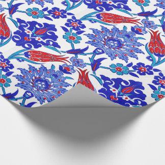 Motif floral turc fait main antique de tuile de papier cadeau noël