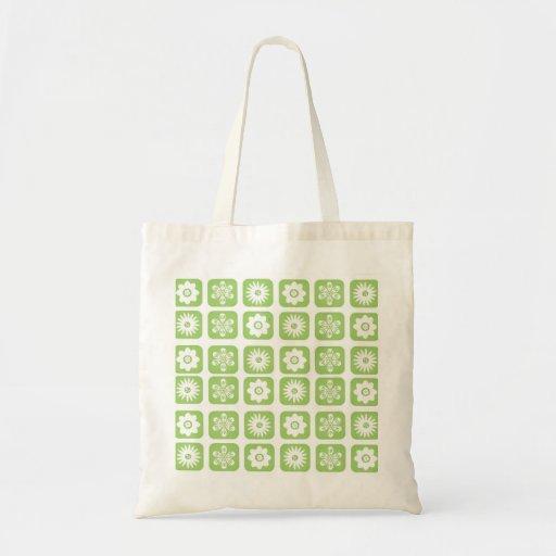 Motif floral vert sac de toile