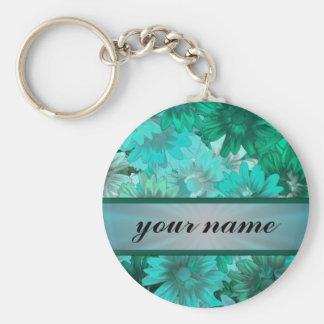 Motif floral vert turquoise porte-clé rond