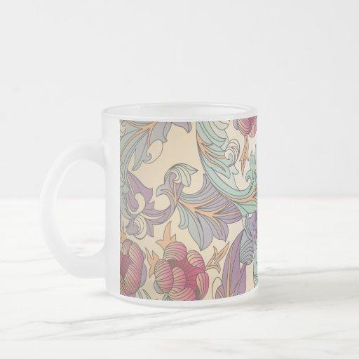 Motif floral vintage - 4 tasse