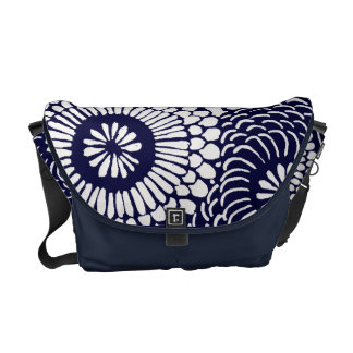 Motif floral vintage - bleu besaces