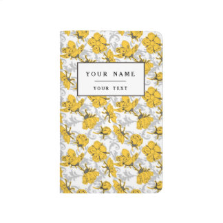 Motif floral vintage jaune et gris de Sunglow Carnet De Poche
