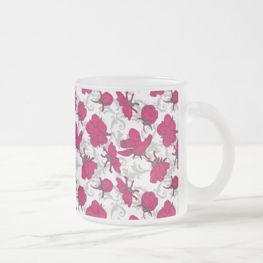 Motif floral vintage rouge et gris rouge tasse