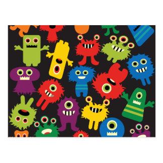 Motif fou coloré de créatures de monstres carte postale