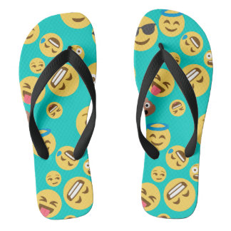 Motif fou turquoise d'Emoji Tongs