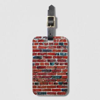 Motif frais de texture de mur de briques étiquette à bagage