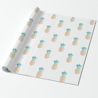 motif frais tropical d'ananas de feuille d'or papier cadeau noël
