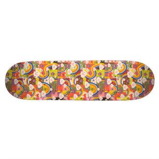 Motif génial mignon d'illustration de harajuku plateaux de planche à roulettes