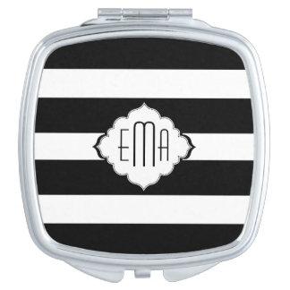 Motif géométrique 2 de rayures noires et blanches miroirs de maquillage