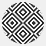 Motif géométrique abstrait de carrés, blanc noir sticker rond