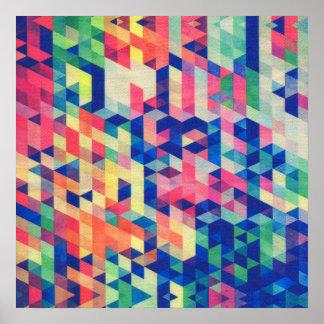 Motif géométrique abstrait de formes d'aquarelle poster