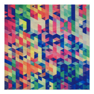 Motif géométrique abstrait de formes d'aquarelle posters