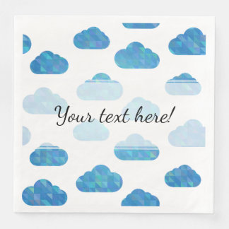 Motif géométrique bleu de nuages serviette jetable