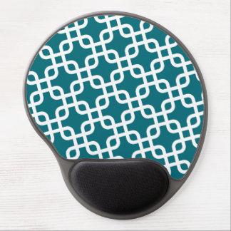 Motif géométrique bleu et blanc tapis de souris avec gel