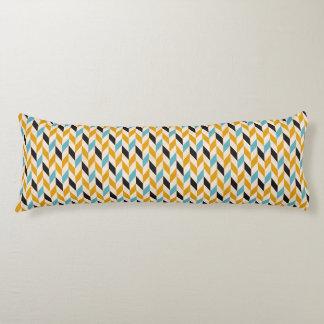 Motif géométrique bleu et orange de Chevron Coussins Longs