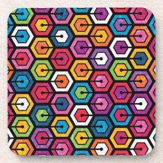 Motif géométrique coloré avec des hexagones dessous-de-verre