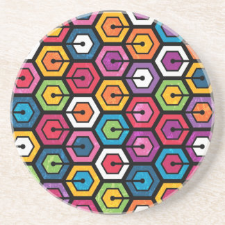 Motif géométrique coloré avec des hexagones dessous de verres
