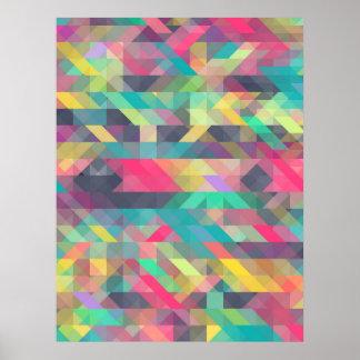 Motif géométrique coloré frais de triangles posters