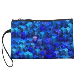 Motif géométrique d'abrégé sur bleu les cubes 3D Pochette Avec Anse