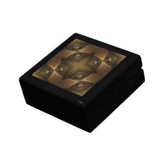 Motif géométrique d'abrégé sur or de tour petite boîte à bijoux carrée