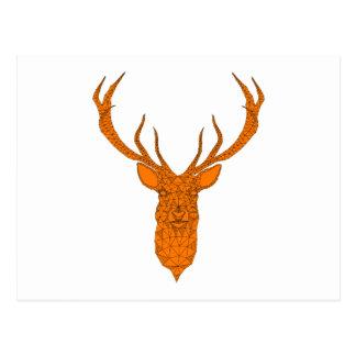 Motif géométrique d'abrégé sur tête de cerfs carte postale