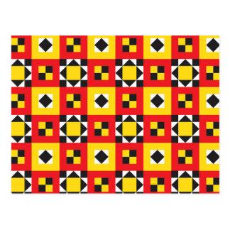 Motif géométrique de carrés colorés cartes postales